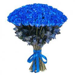 фото букета 101 синяя роза (крашеная)