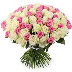 101 роза микс белая и розовая