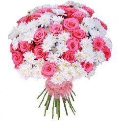 Букет «Мечта» розовые розы и белые хризантемы