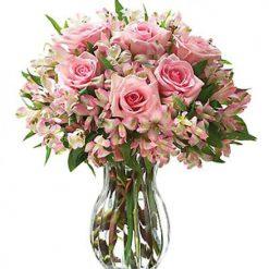 Букет «Нежное настроение» розы и альстромерии
